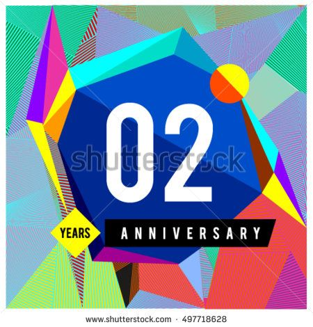 2nd years greeting card anniversary with colorful number and frame. logo and icon with Memphis style cover and design template