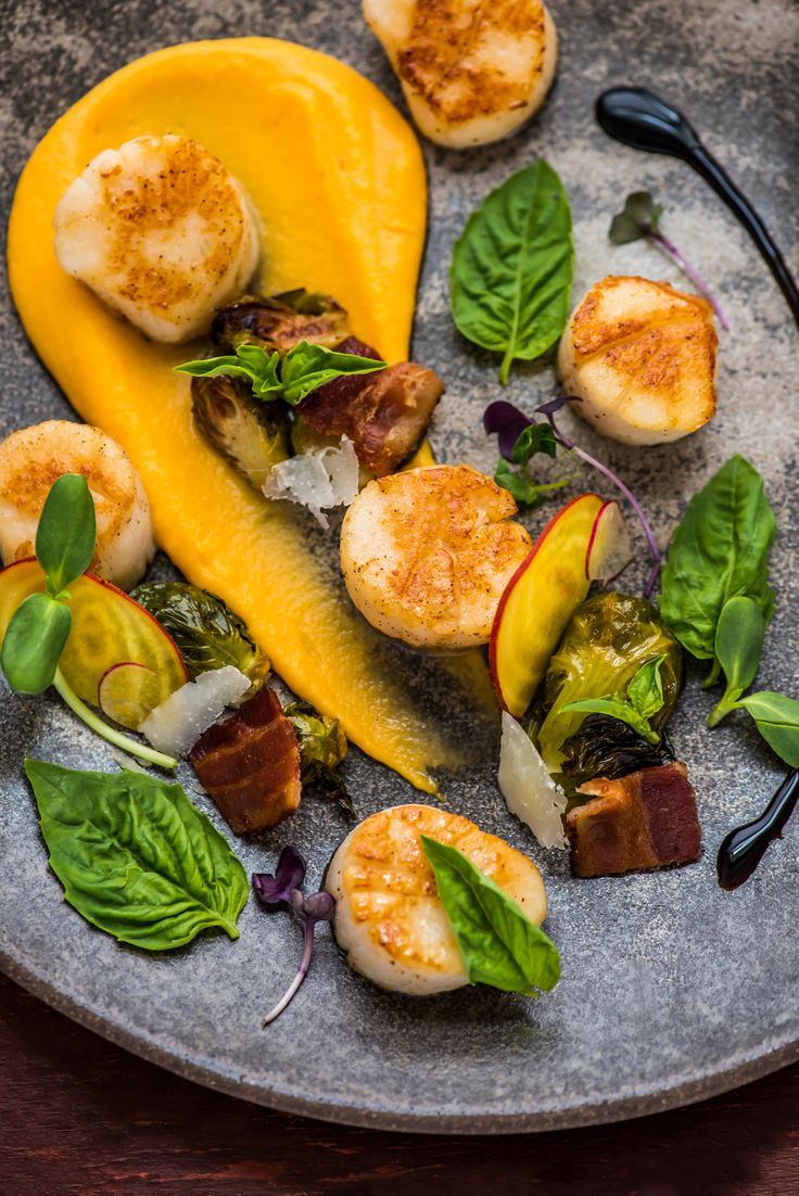 Seared Scallops with Sweet Potato Puree and Maple Bacon Brussels Sprouts.