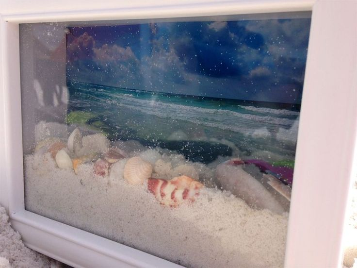 I was lucky enough to find a double glass frame with a top opening years ago at a craft show. I placed my photo on the outside of the back glass and put the sand and shells inside before glueing it shut. That way, there are no sand or she'll scratches on my photo! Ocean View Shadow Box 8