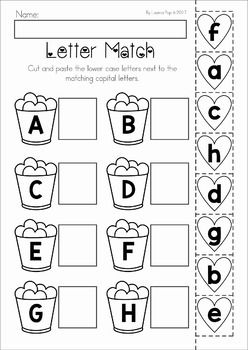 Valentine's Day Preschool No Prep Worksheets and Activities. Upper and lower case letter match cut and paste activity.