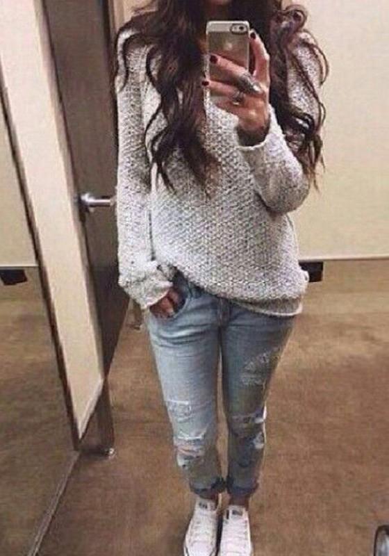 Grey Plain Round Neck Long Sleeve Pullover Sweater