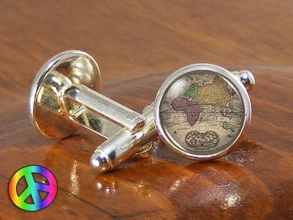 Antique Vintage Mens Fashion Old World Map (1) Silver Cufflinks Cuff Links
