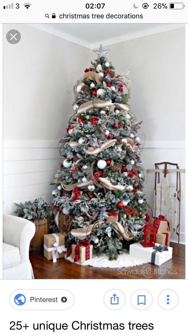 Pop Of Red Really Adds To This Tree Rustic Christmas Tree Christmas Decorations Rustic Tree Flocked Christmas Trees