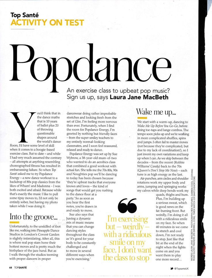 Popdance feature in Top Sante magazine