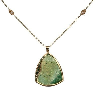 Gorgeous! Watermelon tourmaline and green diamond necklace by Shaesby.