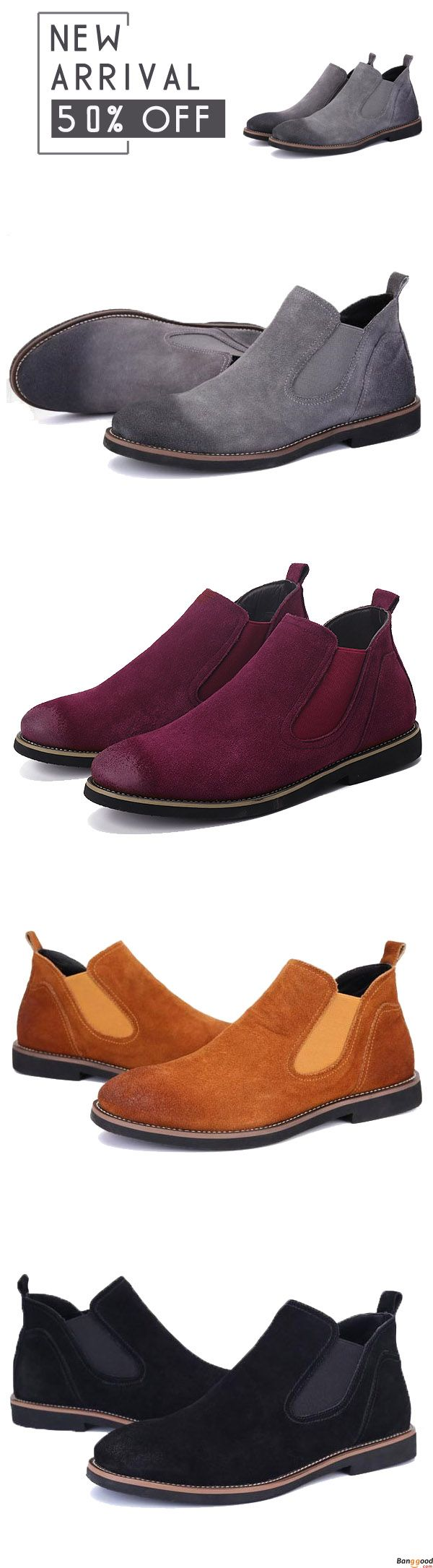 Men Casual Suede Leather Elastic Bnad Soft Ankle Boots. British style for winter. $51.99 + Free Shipping. Shop at banggood with super affordable price.