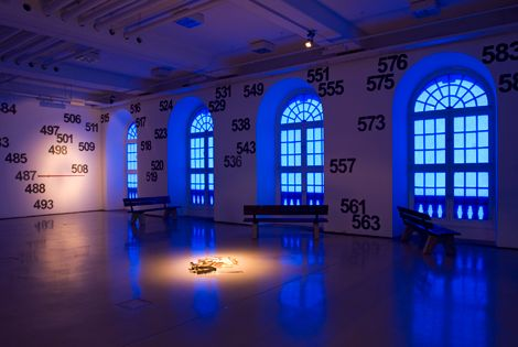 Latifa Echakhch - Vue de l'exposition « Les sanglots longs »