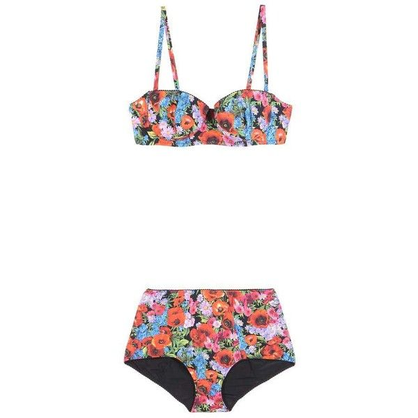 Dolce & Gabbana Printed High-Waist Bikini ($740) ❤ liked on Polyvore featuring swimwear, bikinis, multicoloured, bikini beachwear, bikini swim wear, high-waisted bikinis, high waisted swimwear and high waisted bikini swimwear