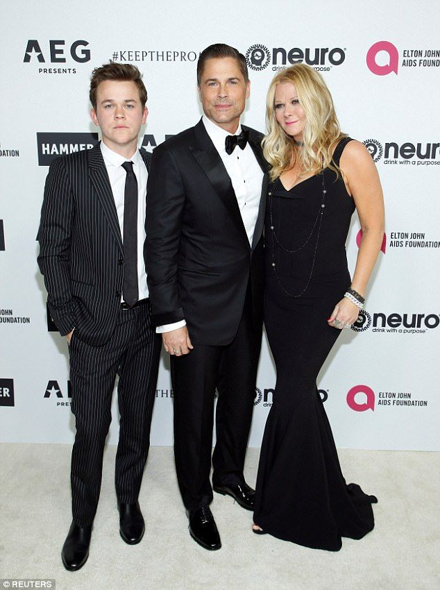 Hosting duties: Rob Lowe hosted the star-studded birthday bash, and arrived alongside his wife,Sheryl Berkoff, and their son, John Owen Lowe