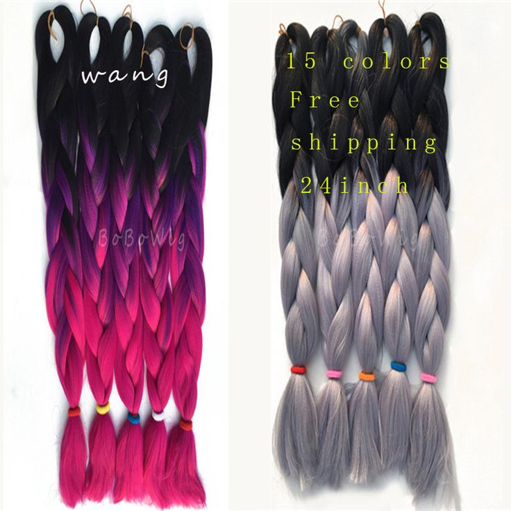 2016 1pcs Ombre Kanekalon Braiding Hair ombre jumbo braiding straight hair synthetic afro kinky braids hair box braid extensions *** Click image to review more details.