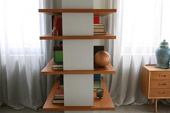 The Block Sky High: Room Reveal: Trixie + Johnno's living room. Shelving wrapping around corner.