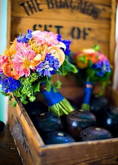 Bridal Bouquet of Dahlias, Pin Cushion Protea, Volken Delphinium, Orange Ranuculus - Bella Flora 30a, Florida