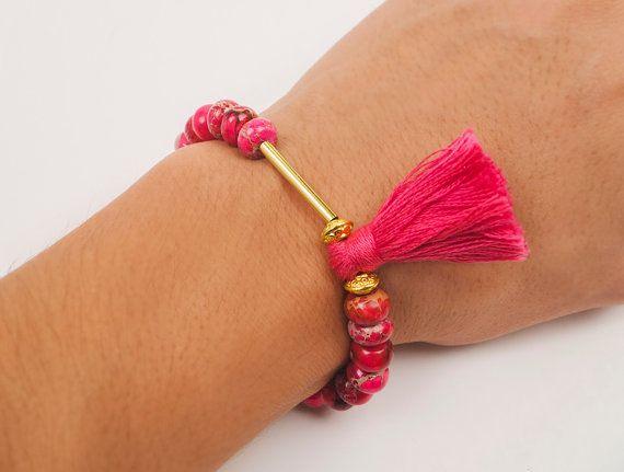 Jasper bracelet fuchsia bracelet beaded by ErikaKormaDesigns