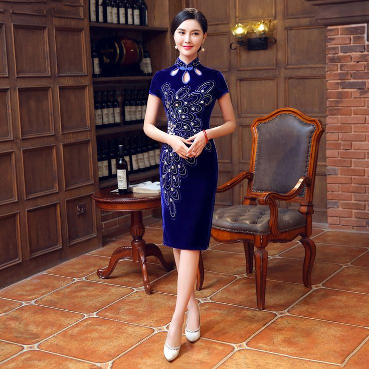 >> Click to Buy << Vintage Cheongsam Blue Traditional Chinese Dress Qipao Vestido Oriental Style Dresses Velvet Wedding Gowns Robe Mariage Chinoise #Affiliate