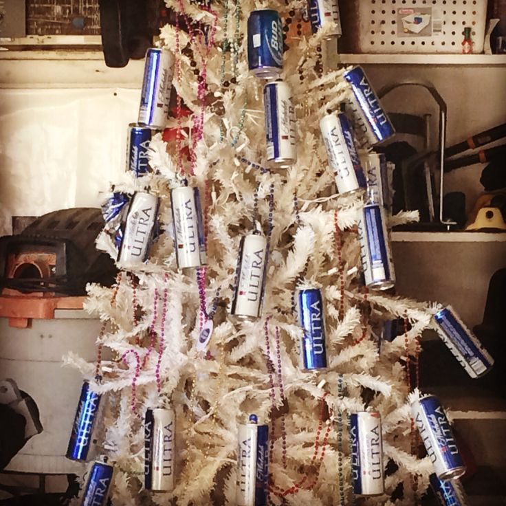 Man Cave Basket Ideas : Man cave garage christmas tree beer cans as ornaments and
