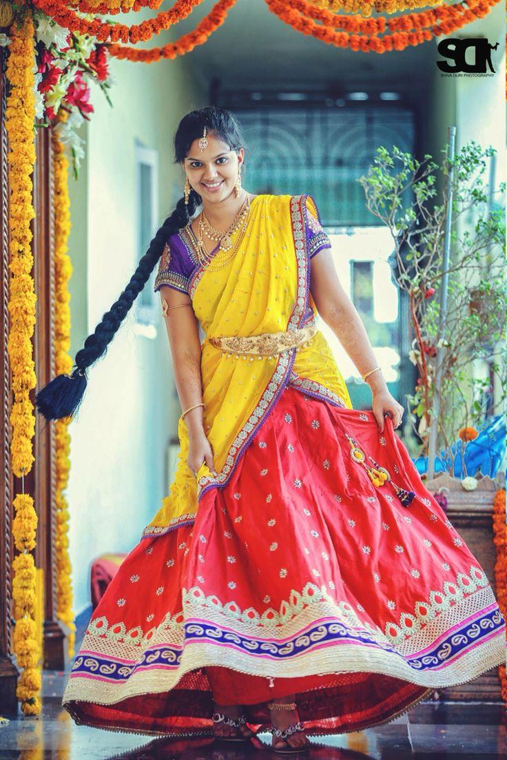 Red and yellow combo half saree