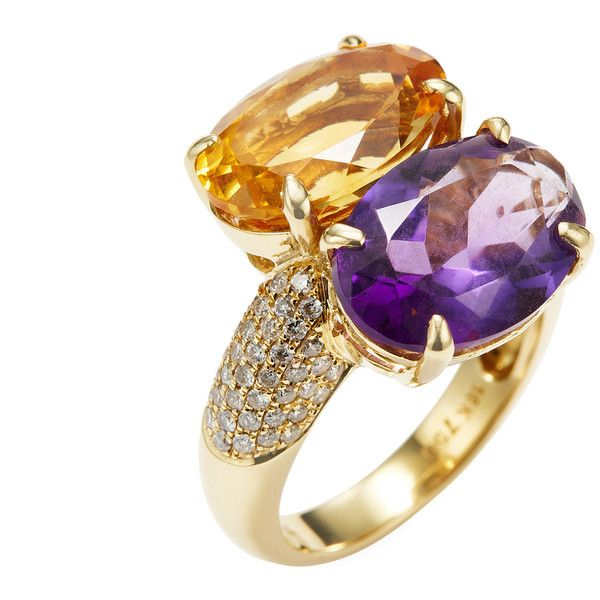 Arthur Marder Fine Jewelry Women's 18K Yellow Gold, Citrine, Amethyst... ($1,115) ❤ liked on Polyvore featuring jewelry, rings, purple, amethyst diamond ring, yellow gold diamond rings, purple diamond ring, 18k diamond ring and wide gold ring
