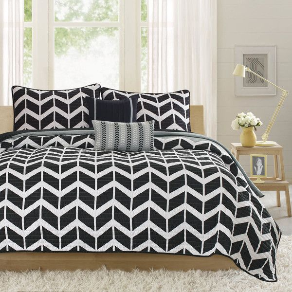 Nadia Coverlet Set Size: King/Cal King, Color: Black ($90) ❤ liked on Polyvore featuring home, bed & bath, bedding, quilts, king coverlet, california king size bedding, king shams, king coverlet sets and king size pillow shams