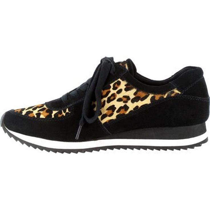 Bella Vita Womens Emile Calf Hair Leopard Print Fashion Sneakers