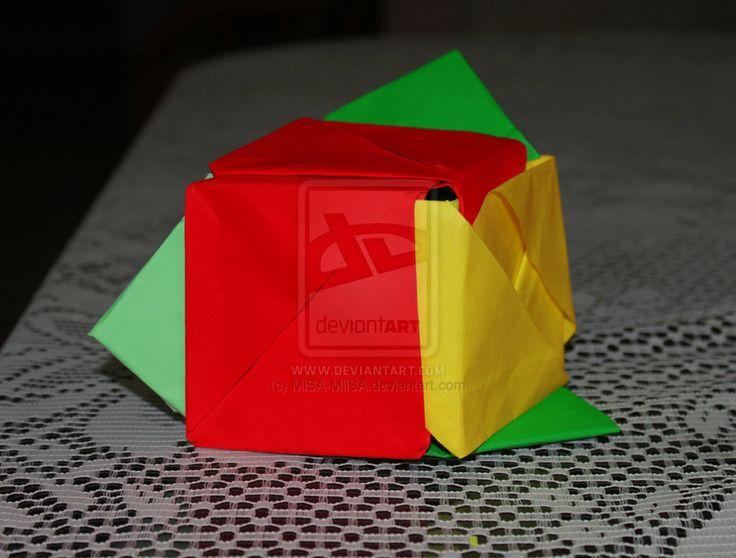flor cubica de origami by MiSA-MiiSA.deviantart.com on @deviantART