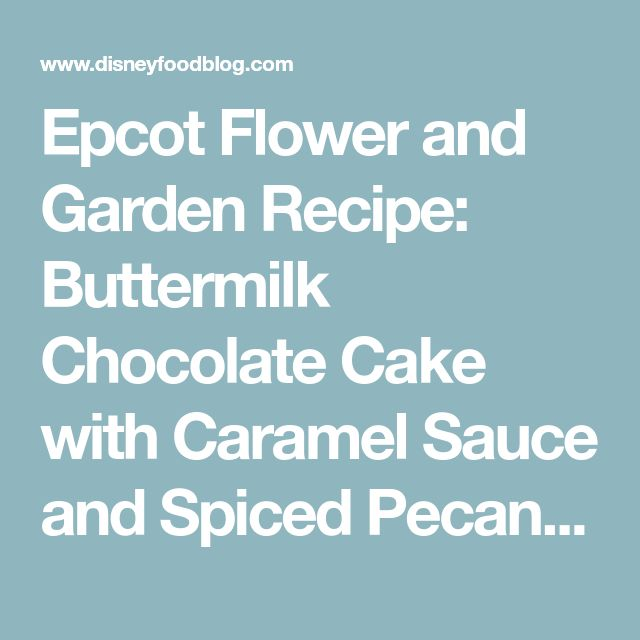 Epcot Flower and Garden Recipe: Buttermilk Chocolate Cake with Caramel Sauce and Spiced Pecans | the disney food blog
