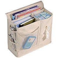PANNIUZHE 6tasche comodino letto con contenitore organizer da appendere borsa per orologio cellulare con magaazines Holder Pouch beige