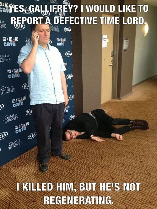 Repinning because Matt smith is just laying on the floor and it's hilarious if you stare at him