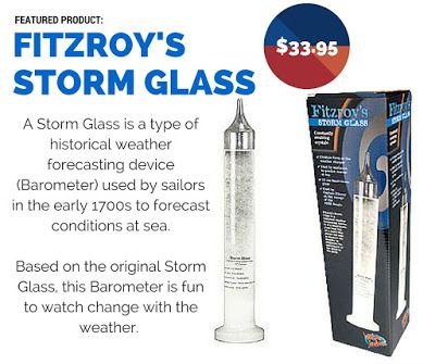 GIFT OF THE WEEK: Fitzroy's Storm Glass $33.95 This old-school barometer will fascinate weather-geeks of any age. A unique, fun gift for the science enthusiast in your family this Christmas.  #FitzroyStormGlass #giftsformen #stormglass