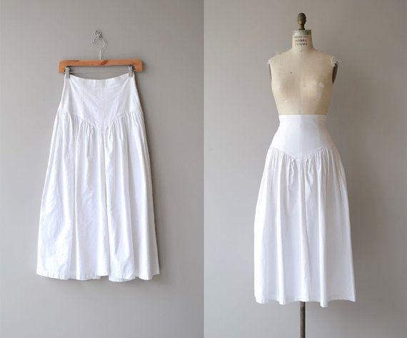 Summer Tour skirt | midi skirt | vintage 1980s skirt | high waist white cotton 80s skirt