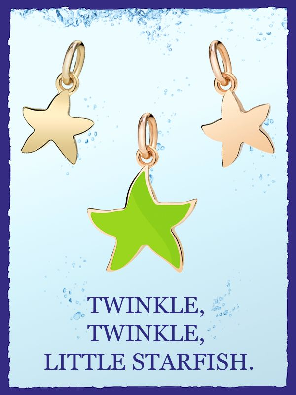 Dodo starfish in 18kt yellow gold, in candy-coloured enamel, in 9kt rose gold.