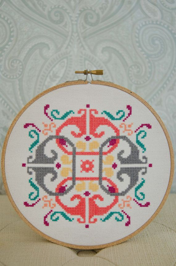 Cross Stitch Pattern PDF, Motif Style 4 on Etsy.  Adorable pattern -- love the colors too.  #cross_stich #pattern #mod_motif