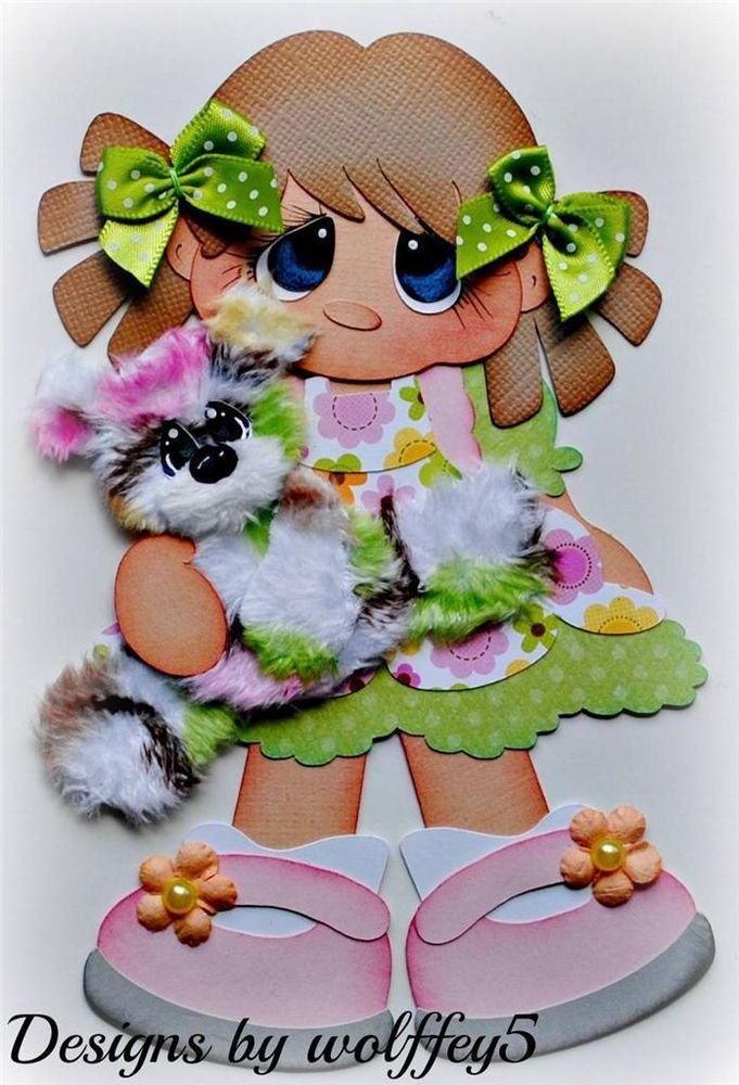 ELITE4U TEAR BEAR GIRL paper piecing premade scrapbook page album mat  WOLFFEY5