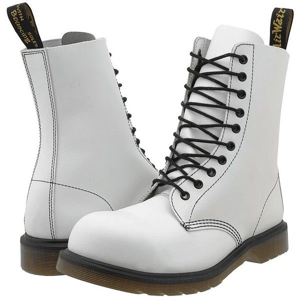 Dr. Martens 1919 Boots ($78) ❤ liked on Polyvore featuring shoes, boots, mid-calf boots, white, steel toe boots, lace up boots, dr martens boots, mid calf lace up boots and slip resistant work boots