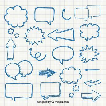 Frecce e bolle disegnate a mano di discorso Vettore gratuito
