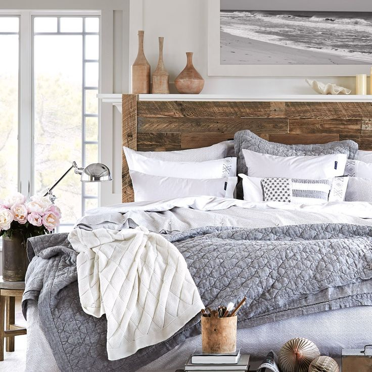 Lexington Bedspread Grey | Coastal bedroom theme | Houseology