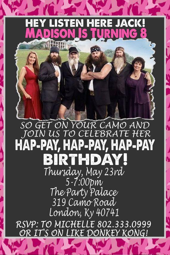 free printable camouflage birthday party invitations%0A Duck Dynasty Pink Camo Birthday Invitation  HA