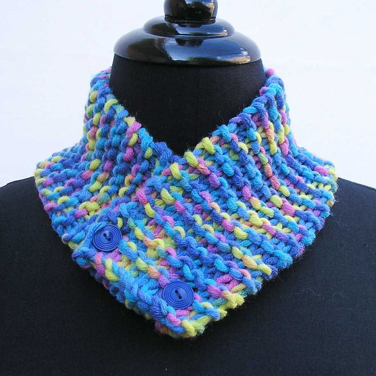 Blue neck warmer, blue scarf, blue and yellow neck warmer, buttoned scarf, knitted cowl, pink neck wrap, blue neckwarmer, yellow neckwarmer by Rethreading on Etsy