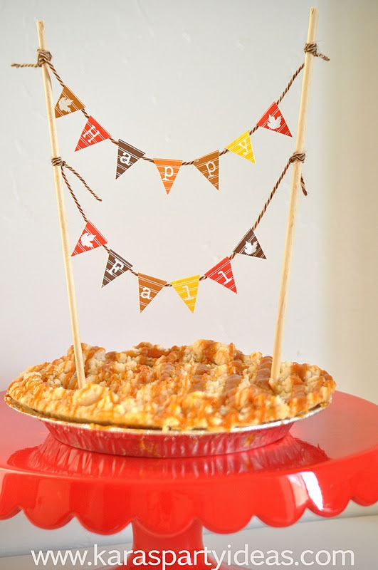 FREE DOWNLOAD- mini Happy Fall pennant bunting banners for your cake, pie or desserts. From www.karaspartyideas.com