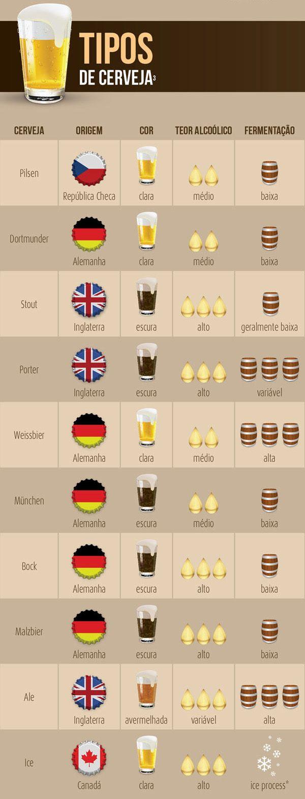 Tipos de Cerveja #infografía
