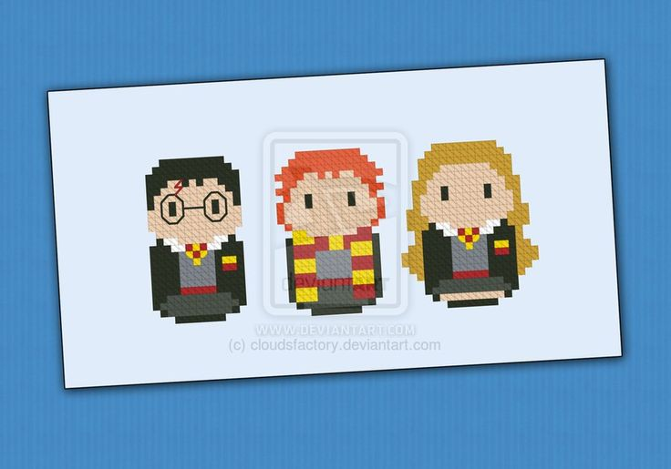 Mini People - Harry Potter cross stitch pattern by cloudsfactory.deviantart.com on @DeviantArt