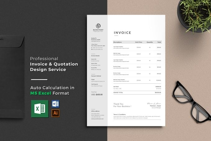 Design Professional Invoice Template In Excel By Becreatives Invoice Template Invoice Design Printable Invoice
