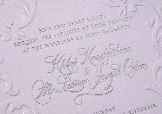 Khloe Kardashian And Lamar Odom Turned To Legendary Celebrity Invitation Designers Lehr Black For Their Lilac Cards With Silver Lettering The Elegant