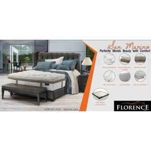 SAN MARINO Florence Spring Bed SERI : Prestige Living Mattress thickness : 39.5 cm Headboard Basillica tinggi 140 cm Foundation : Prestige Comfort Level : Medium Firm - See more at: http://www.kasurspringbed.com/florence-springbed/568-san-marino-florence-spring-bed.html