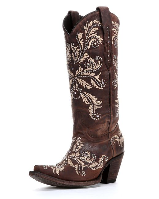 "Lucchese Women's Redwood Aspen Calf ""Studded Angelina"" Boots  http://www.countryoutfitter.com/products/31826-womens-redwood-aspen-calf-studded-angelina-boots"