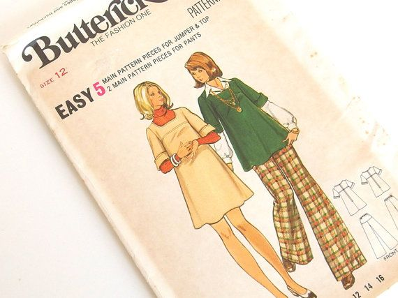 UNCUT Vintage 1970s Maternity Jumper Dress and Pants Sewing Pattern, Butterick 3210, Bust 34 Inches, Size 14