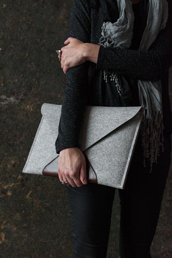MacBook 15 PRO RETINA case genuine leather wool by cinnamoncocoon