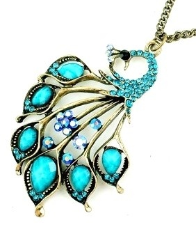Sleeping Crystal Peacock Necklace In Turquoise
