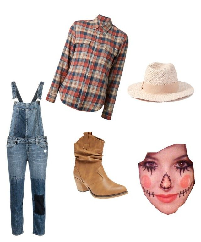 """""""my Halloween costume- scarecrow"""" by caitiec ❤ liked on Polyvore featuring Paige Denim, Mother, Wet Seal, Forever 21, women's clothing, women, female, woman, misses and juniors"""