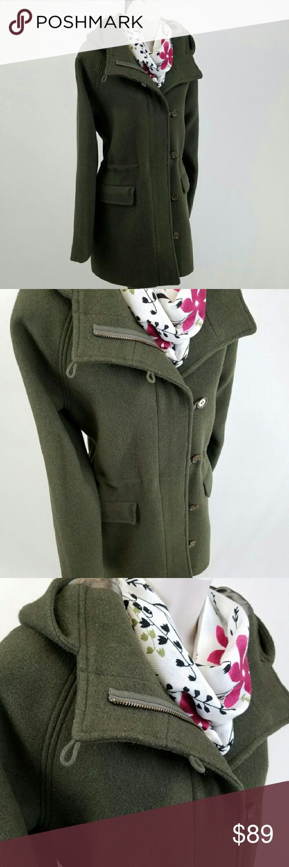 J. Crew wool coat with hood Long-sleeved moss green wool jacket with hood, flap pockets, and integrated drawstring to adjust waist, by J. Crew Factory.  Features front zip and button closure.  Fully lined.  Bust 20 / length 32.  55% wool, 45% polyester; lining 100% acetate.  Thanks for visiting my closet; come back soon & see what's new!  I add listings every week! J. Crew Jackets & Coats