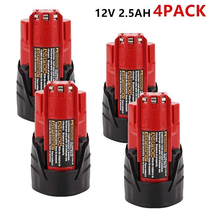 4pack 12v 2500mah Lithium Ion Replacement Battery For Milwaukee M12 Milwaukee 48 11 2411 12 Volt Cordless Milwaukee Tools Milwaukee 12v Battery Lithium Ion Revi Milwaukee M12 Milwaukee Tools Milwaukee